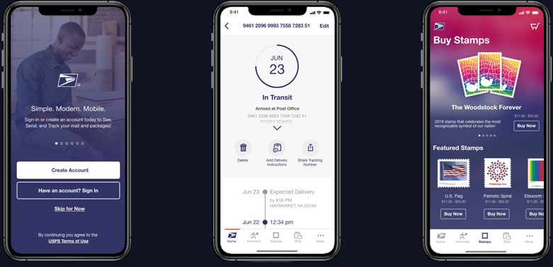 Login, tracking, and stamp store screens of the USPS application on iOS