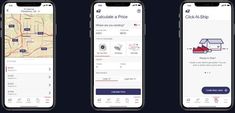 ZIP Code Lookup, Price Calculator, and Click-N-Ship screens.